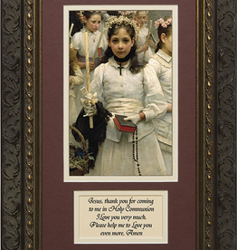 Nelson/Catholic to the Max After the First Holy Communion (Detail 1 Girl) Framed Image with Prayer in Ornate Dark Frame 8x 14""