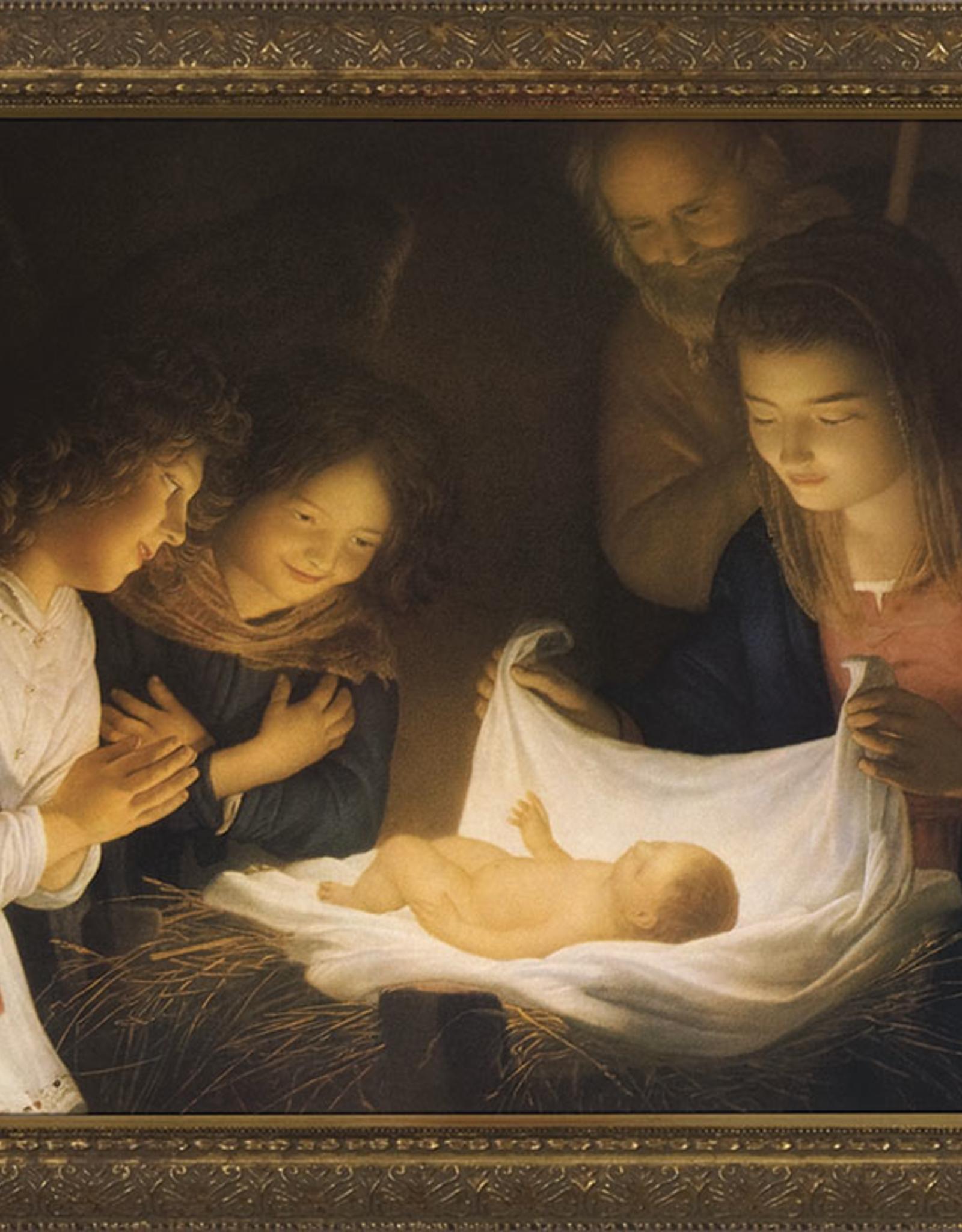 "Nelson/Catholic to the Max Nativity Framed Image Ornate Gold Frame 12 x 16"""