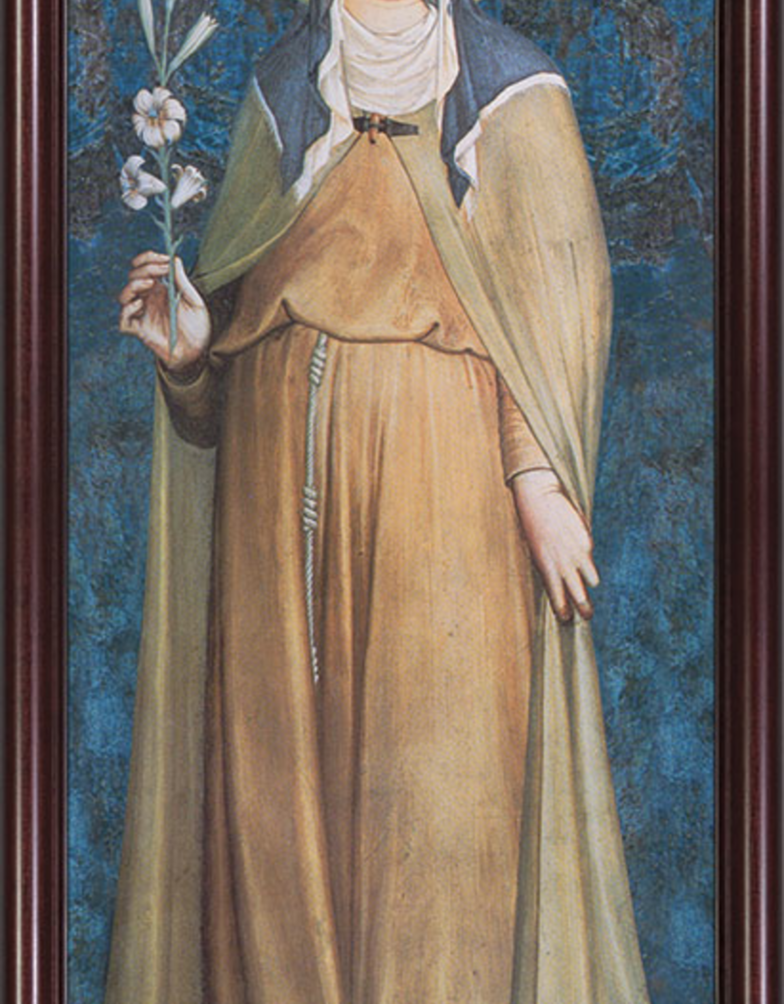 Nelson/Catholic to the Max St. Clare Full Length Framed Image in Cherry Frame 6.5 x 16""