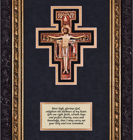 Nelson/Catholic to the Max San Damiano Crucifix with Prayer Framed Ornate Dark Frame 8x 14