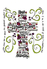 Dovetail Ink Dovetail Ink:  Sisters in Christ Cross Word Art (5x7 print)