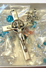 BC Inspirations BC Inspurations:  Handcrafted Czech Glass Lasso Rosary w/ Aqua and St. Benedict Crucifix