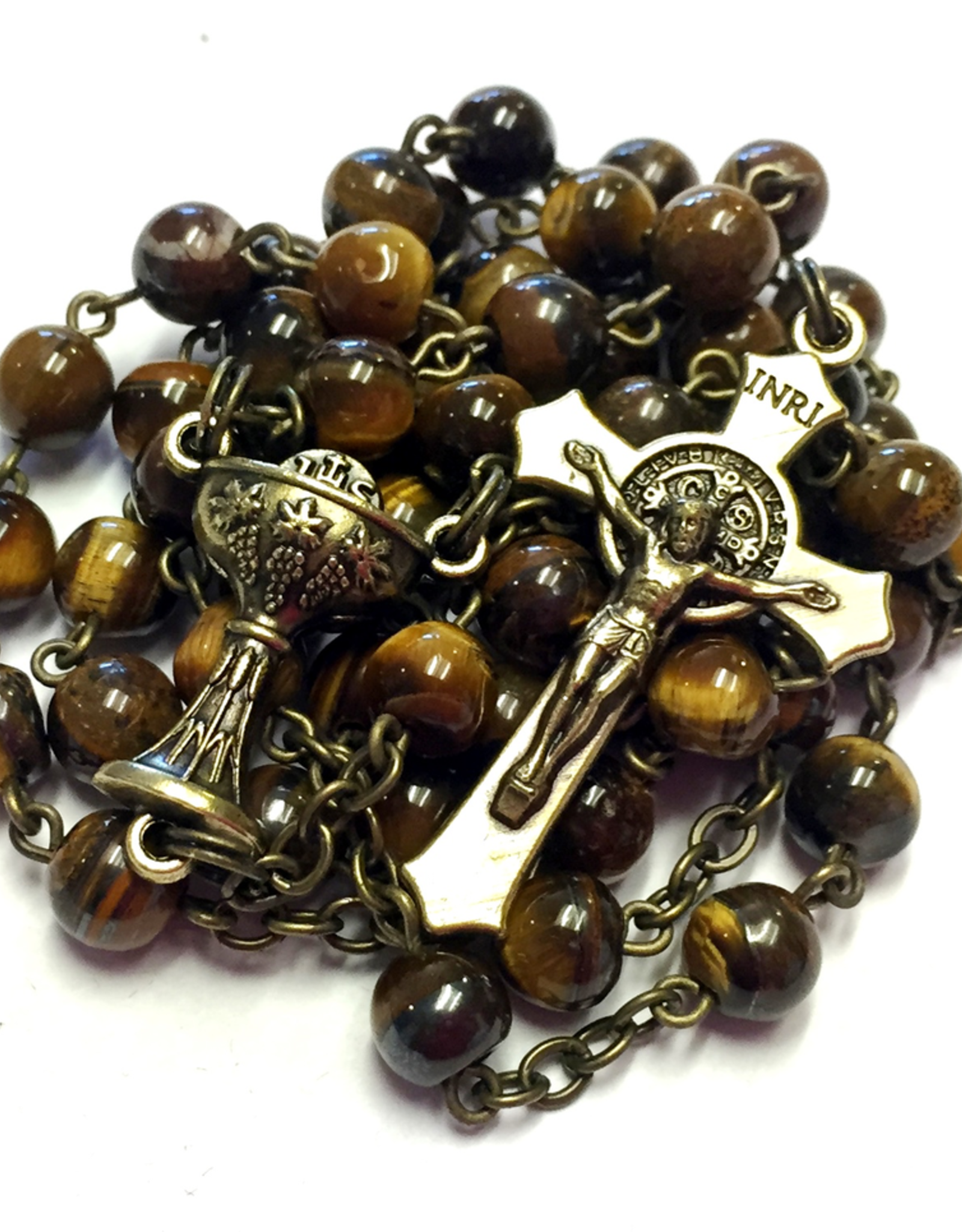 BC Inspirations BC Inspirations:  Handcrafted Tiger's Eye First Communion Rosary (vintage Style)