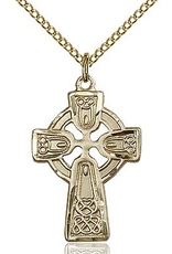 """Bliss Manufacturing Gold Filled Celtic Cross (18"""" Gold Filled Curb Link Chain)"""