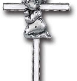 "WJ Hirten 7"" Pearlized Praying Baby Girl Cross"