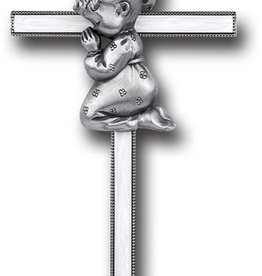 "WJ Hirten 7"" Pearlized Praying Baby Girl Cross"