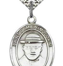 "Bliss Manufacturing St. Damien of Molokai Medal in Sterling Silver (24"" Stainless Steel Chain)"