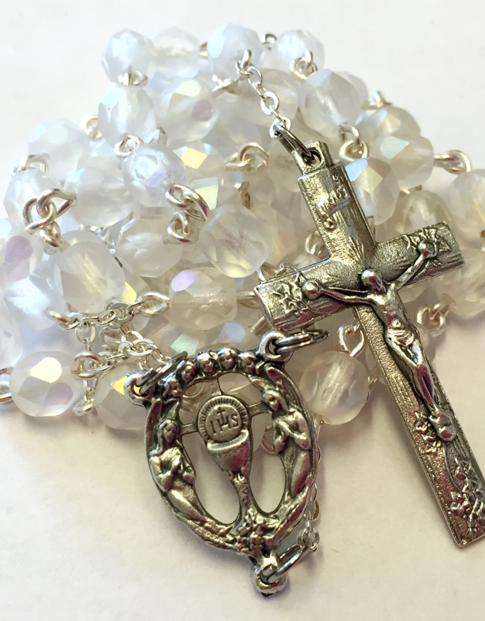 BC Inspirations BC Inspirations:  Handcarafted Fire Polished Czech Glass First Communion Rosary in MAtte Opal