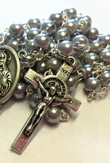 BC Inspirations BC Inspirations:  Sacred Heart of Jesus Rosary in Gray Glass Pearls