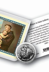WJ Hirten St Anthony Pocket Coin with Gold Stamped Holy Card