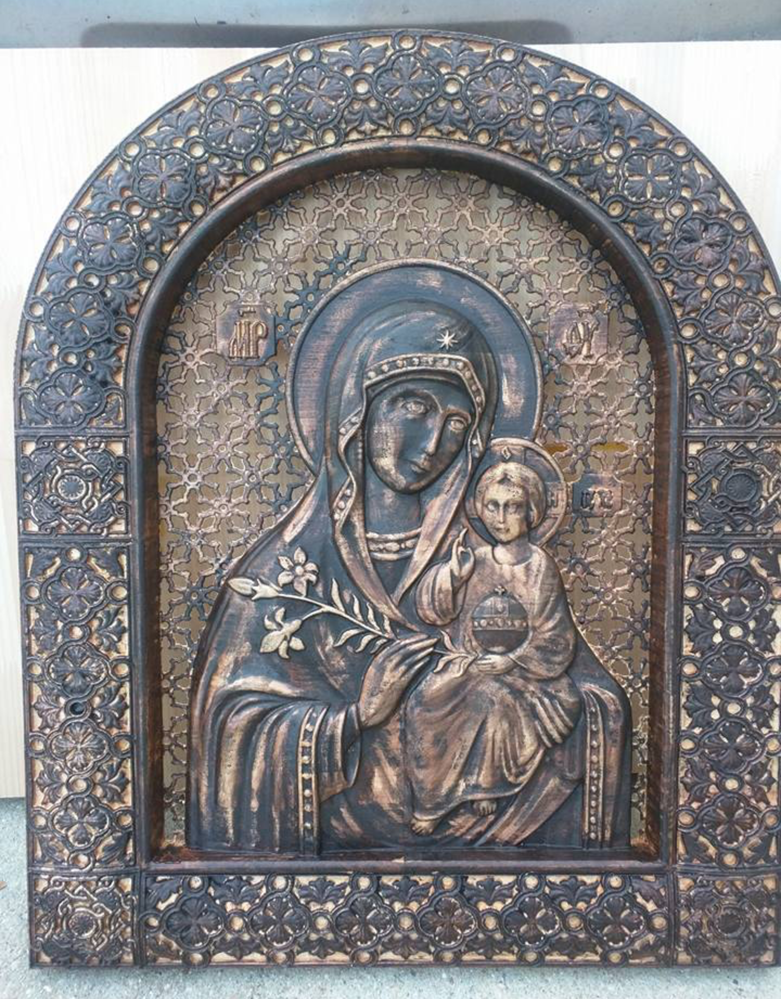 Aspire CNC Works Carved Our Lady of Perpetual Help Icon in Oak