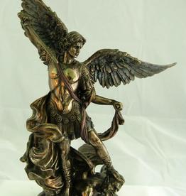 "Goldscheider 10"" St. Michael Statue in Cold-Cast Bronze, Lightly Handpainted"