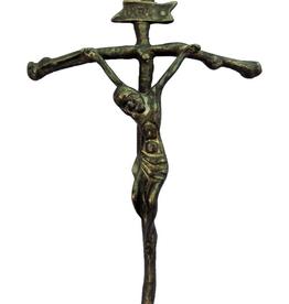 """Goldscheider Papal Crucifix in Antique Brass 14.5"""""""
