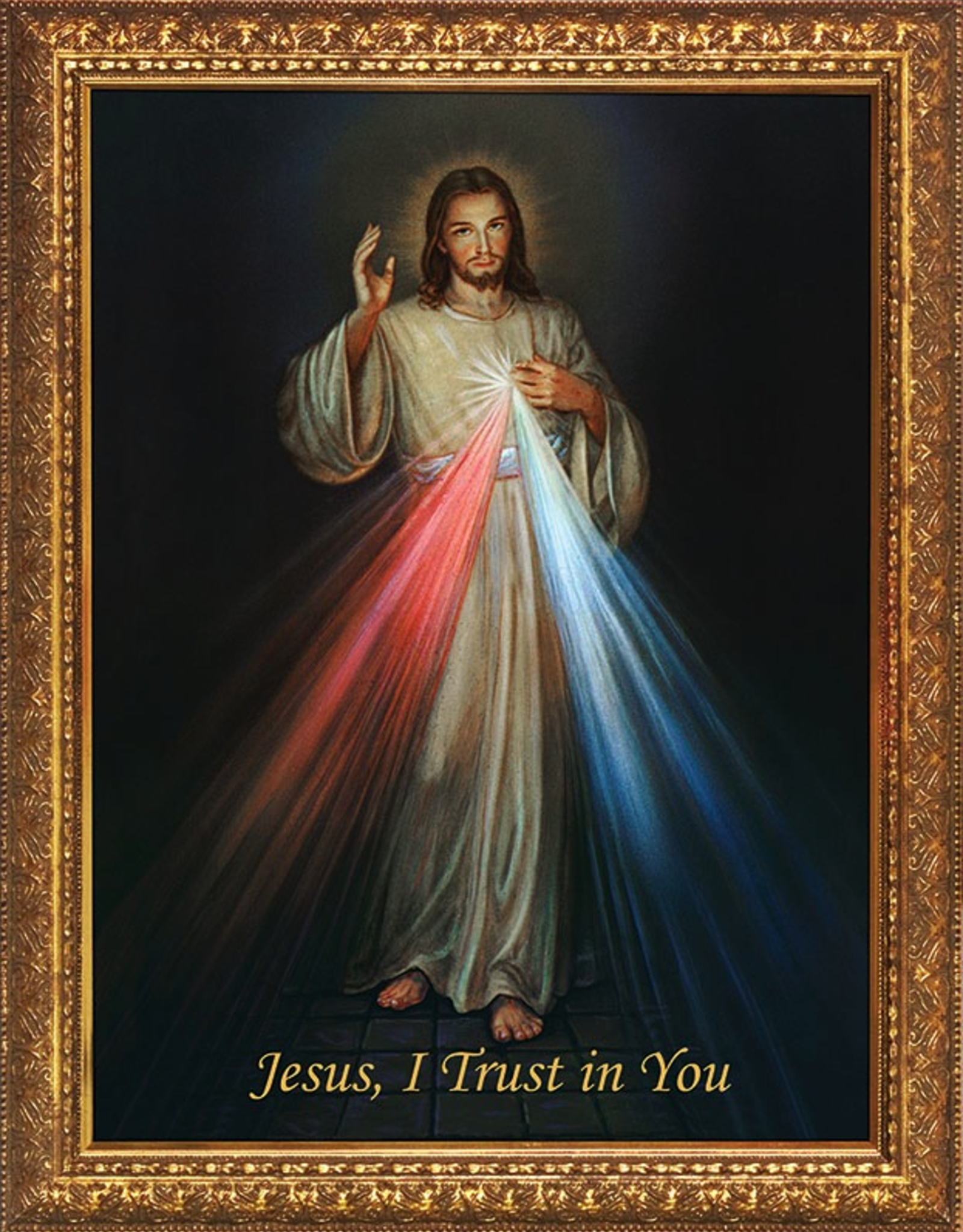 Nelson/Catholic to the Max Divine Mercy Framed Image in Standard Gold Frame 8x10""