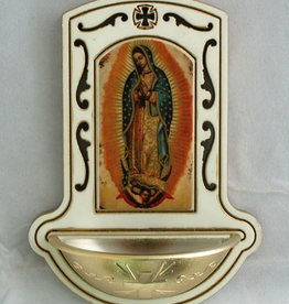 """Goldscheider 3.5"""" x 5"""" Our Lady of Guadalupe Holy Water Font"""