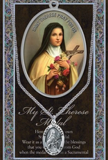 """WJ Hirten St. Therese Medal Necklace w/ Prayer Card (20"""" Stainless Steel Chain Included)"""