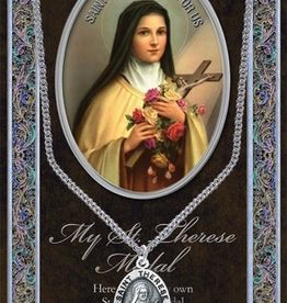 "WJ Hirten St. Therese Medal Necklace w/ Prayer Card (20"" Stainless Steel Chain Included)"