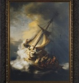 Nelson/Catholic to the Max Storm at the Sea of Galillee by Remrandt Framed Image in Ornate Dark Frame 12x16