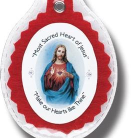 WJ Hirten Sacred Heart Badge Sealed in Soft Plastic
