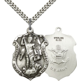 """Bliss Manufacturing St. Michael Army Shield in Sterling Silver (24"""" Stainless Steel Chain)"""
