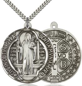 """Bliss Manufacturing St. Benedict Medal in Sterling Silver (24"""" Stainless Steel Chain)"""