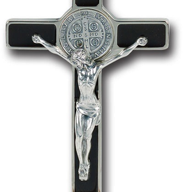WJ Hirten Enameled St. Benedict Crucifix with Antique Silver Corpus and Medal 8""