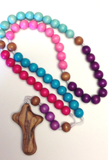 BC Inspirations BC Inspirations:  Handcfrafted Children's Rosary in Pinks/Purples w/ Bethlehem Hand Carved Cross