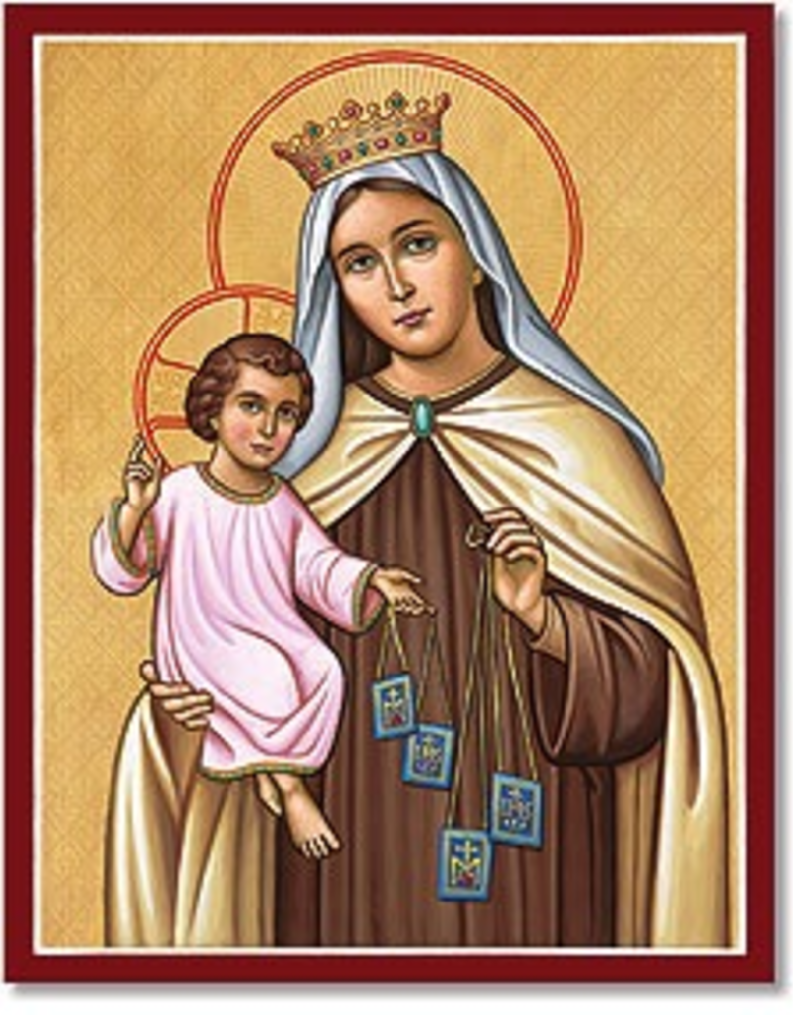 """Monastery Icons 4"""" x 6"""" Our Lady of Mt. Carmel Icon"""