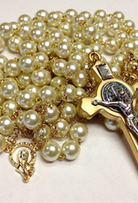 BC Inspirations BC Inspirations:  Handcrafted Ivory Glass Pearl Lasso Rosary in Bronze (St. Benedict Crucifix)