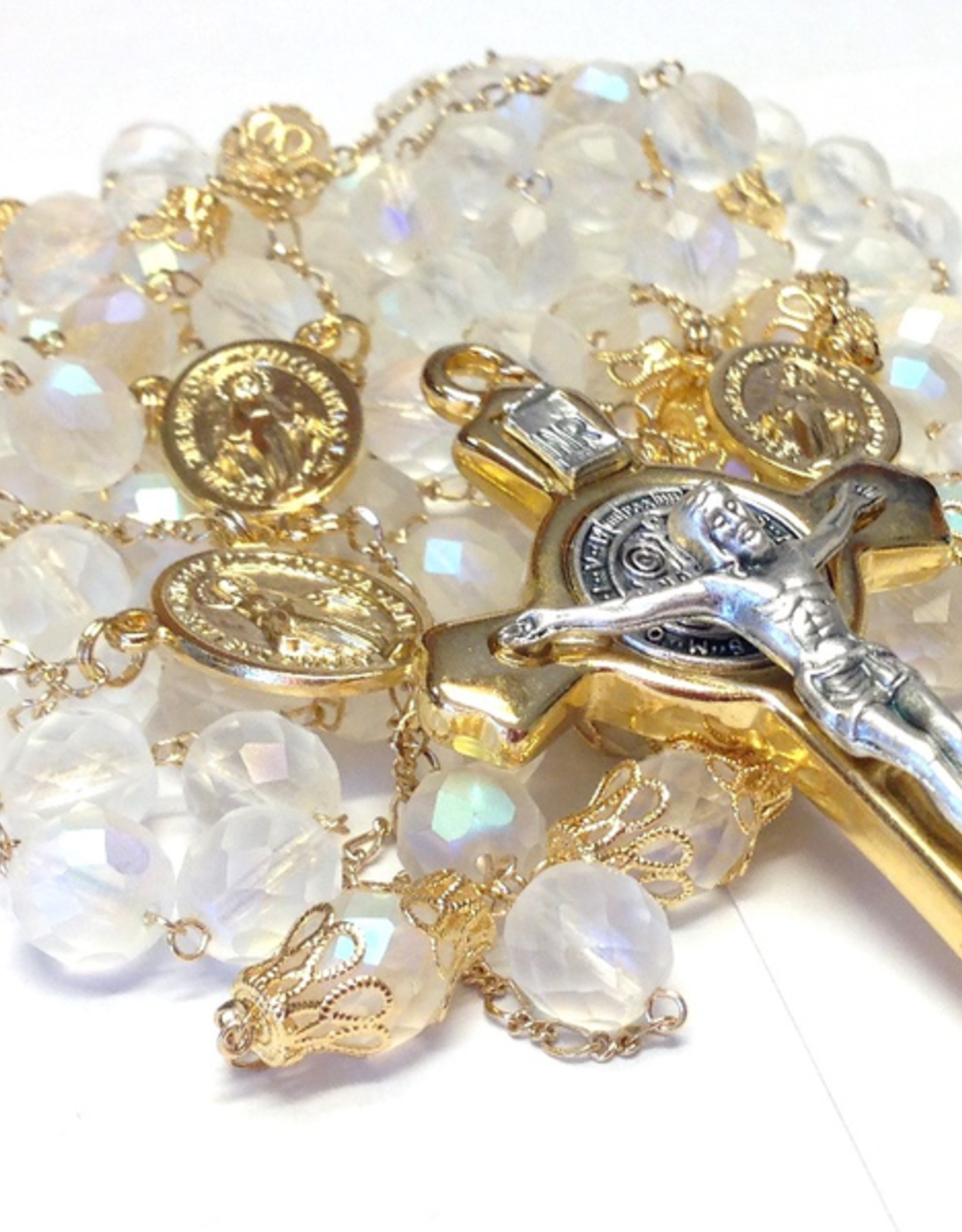 BC Inspirations BC Inspirations:  Handcrafted Matte Czech Glass Lasso Rosary in Bronze (St. Benedict Crucifix)