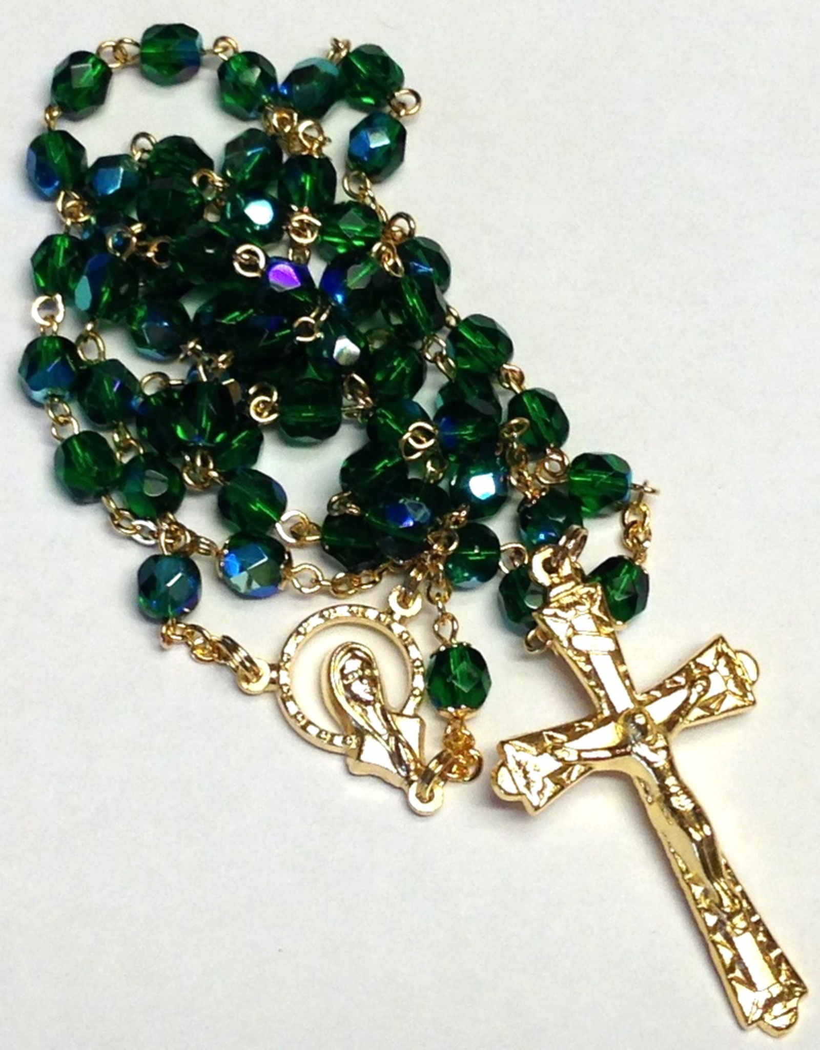 BC Inspirations BC Inspirations:  Handcrafted Emerald Green Czech Glass Rosary