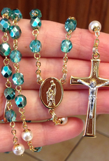 BC Inspirations BC Inspirations:  Handcrafted Teal Czech Glass, CAL Rosary w/ Glass Pearl OF