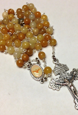 BC Inspirations BC Inspirations:  Handcrafted Genuine Quartz Rosary w/ Full Color Holy Spirit Centerpiece and Pardon Crucifix