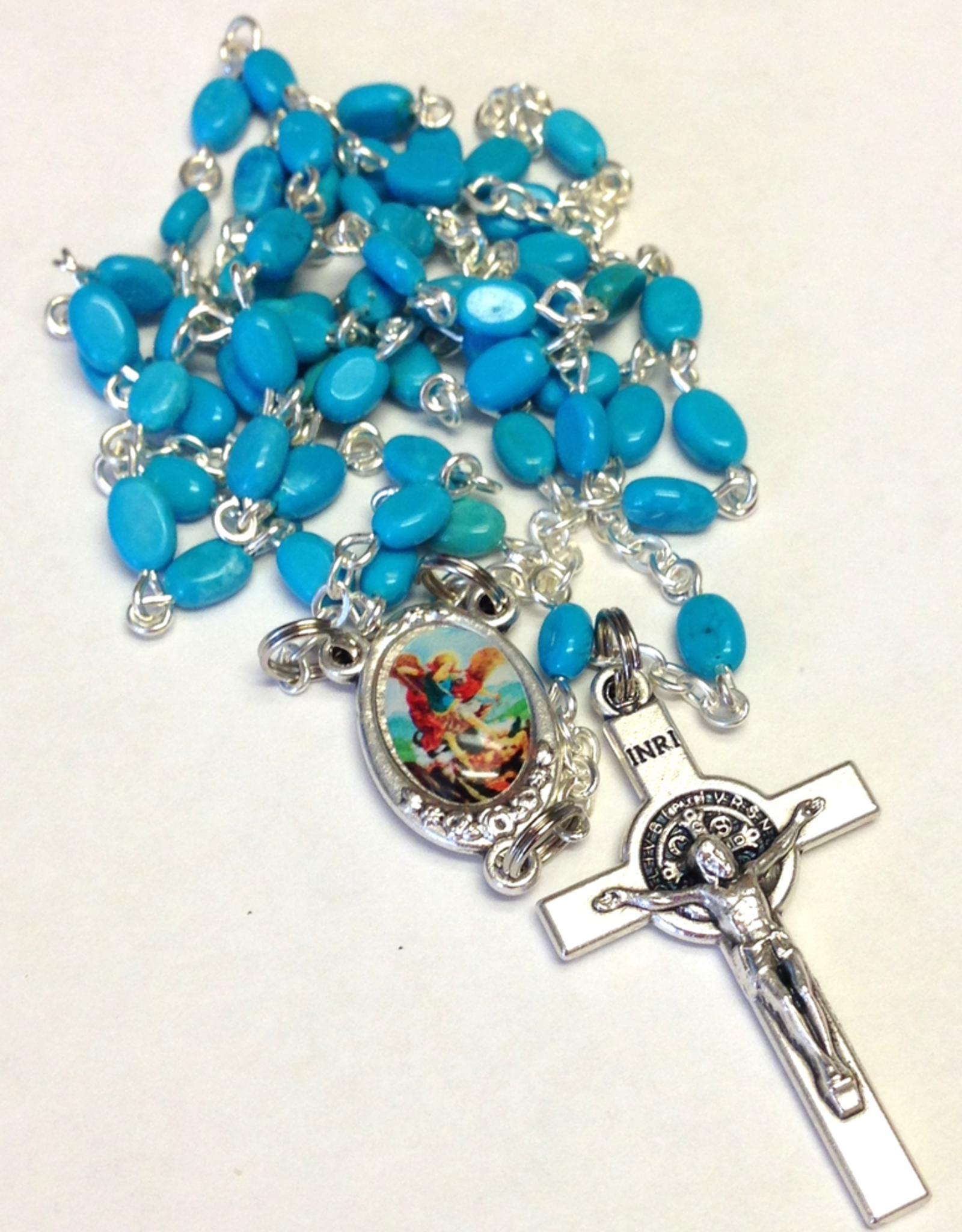 BC Inspirations BC Inspirations:  Handcrafted Chalk Turquoise Rosary w/ Full Color St. Michael Centerpiece