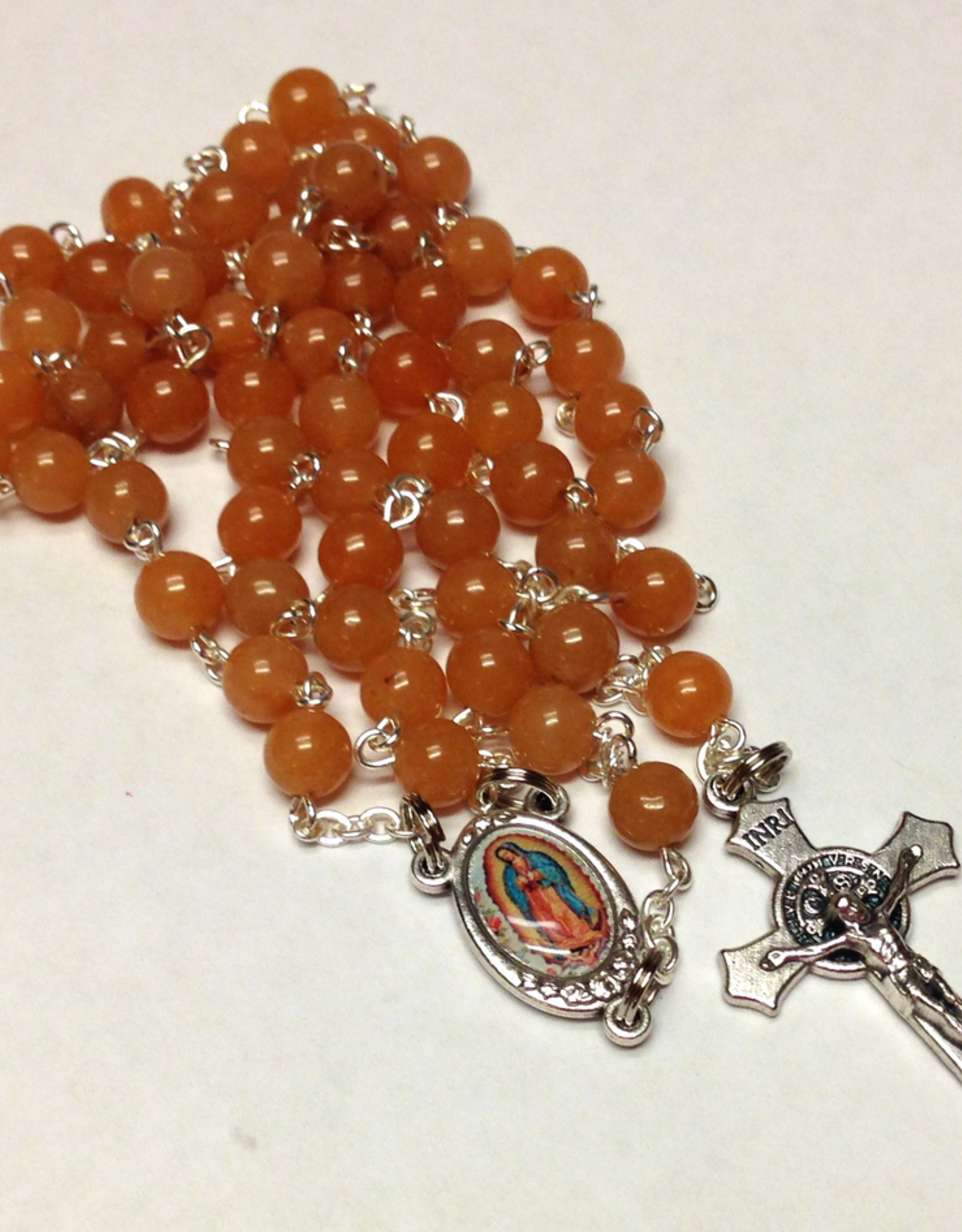 BC Inspirations BC Inspirations:  Handcrafted Red Adventurine Rosary w/ Full Color Our Lady of Guadalupe Centerpiece