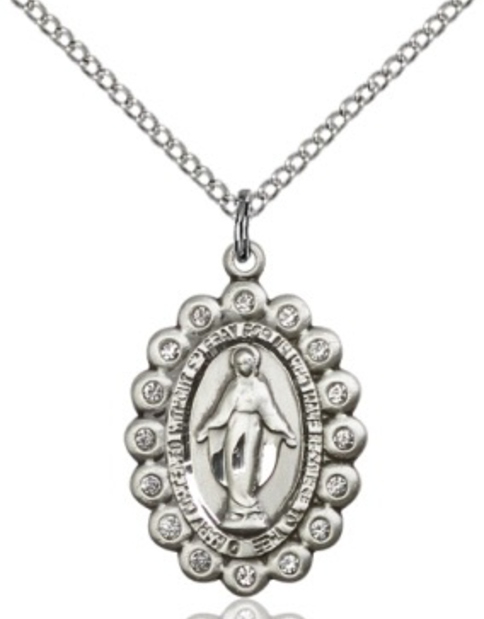 """Bliss Manufacturing Miraculous Medal in Sterling Silver w/ Swarovski Crystal Accent (18"""" Stainless Steel Chain)"""