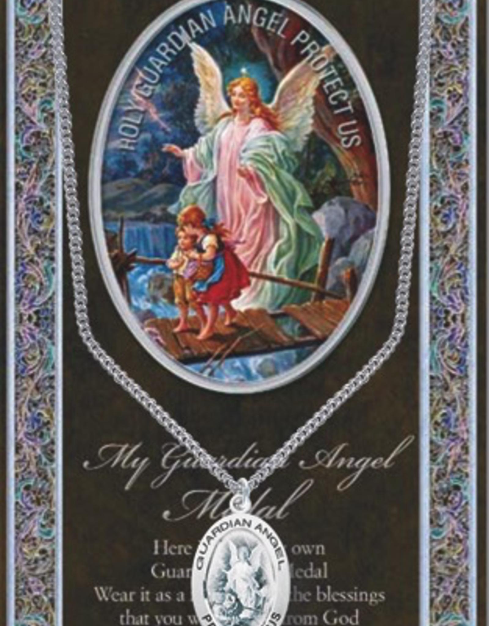 WJ Hirten Guardian Angel Medal Necklace w/ Prayer Card (20‰Û Stainless Steel Chain)