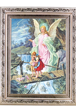 "WJ Hirten 8 1/2"" x 11"" Guardian Angel in Wood w/ Silver Frame"