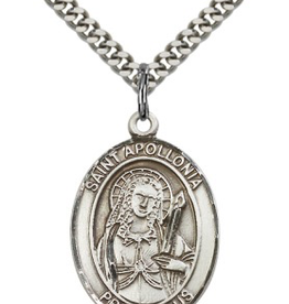 "Bliss Manufacturing St. Appallonia Medal in Pewter (24"" Stainless Steel Chain)"