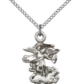 "Bliss Manufacturing St. Michael Pendant in Sterling Silver (24"" Stainless Steel Chain)"