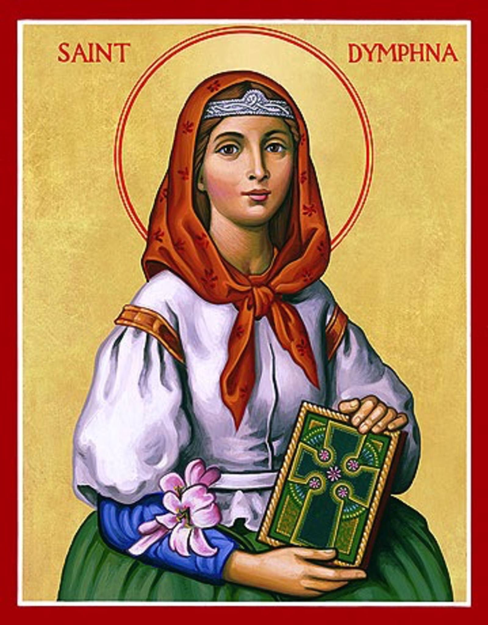 """Monastery Icons 3"""" x 4"""" St. Dymphna Icon"""