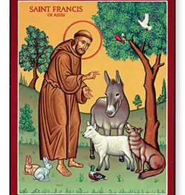 """Monastery Icons 4"""" x 6"""" St. Francis and the Animals Icon"""
