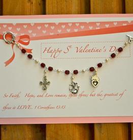 Credo Catholic Credo Catholic Handmade St. Valentines Bracelet with Faith, Hope and Love Charms and Card