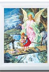 "WJ Hirten Guardian Angel Framed Print 10x12"""
