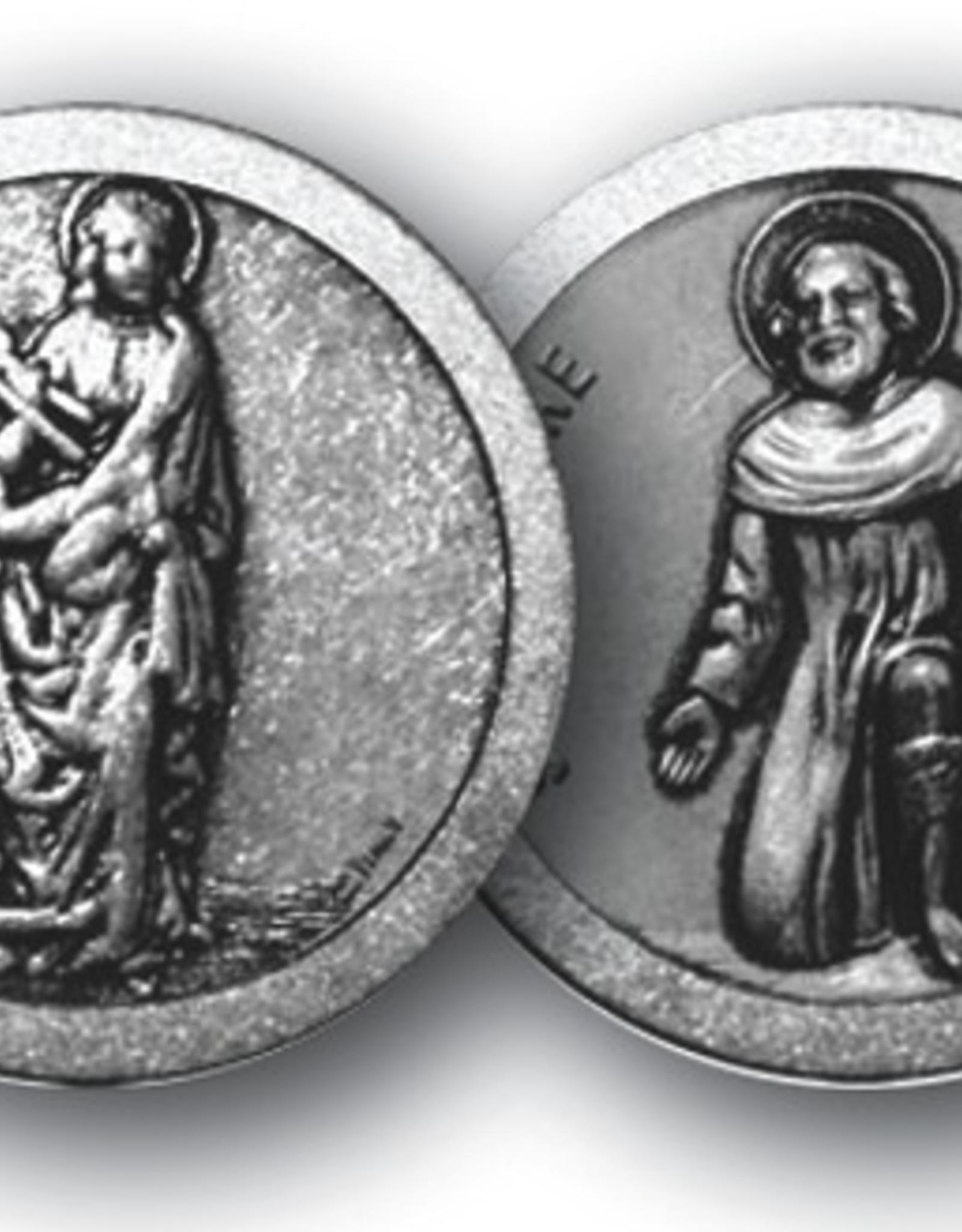 """WJ Hirten St. Agatha / St. Peregrine Pocket Coin 1 1/8"""""""