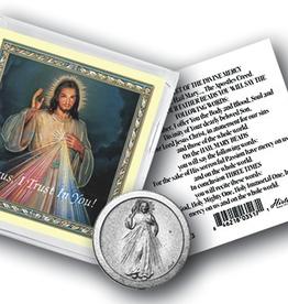 WJ Hirten Divine Mercy Pocket Coin w/ Gold Stamped Holy Card