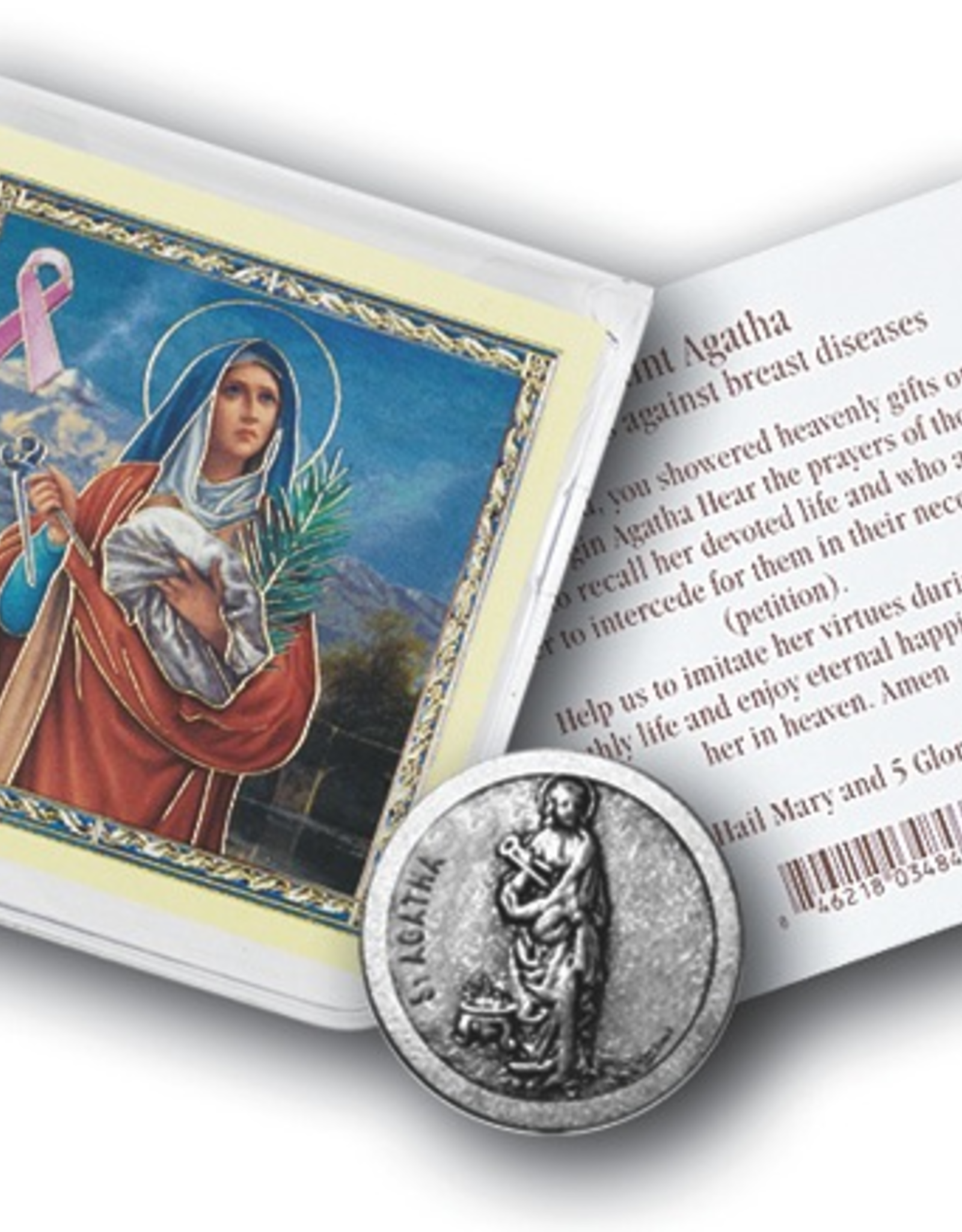 WJ Hirten St. Agatha Pocket Coin w/ Gold Stamped Holy Card