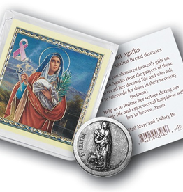 WJ Hirten St. Agatha Pocket Coin w/ Gold Stamped Holy Card