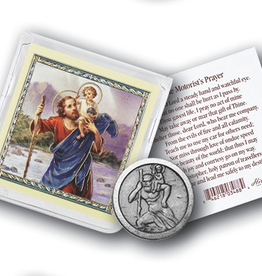 WJ Hirten St. Christopher Pocket Coin w/ Gold Stamped Holy Card