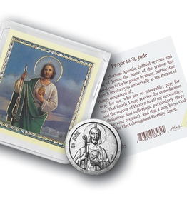 WJ Hirten St. Jude Pocket Coin w/ Gold Stamped Holy Card